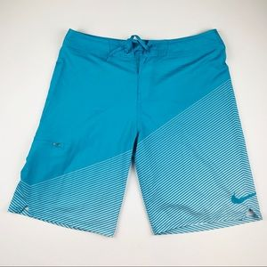 Nike Men's Tie Front Swim Trunks Blue White